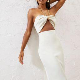 Satin Cut Out Front Midi Dress | Boohoo.com (US & CA)