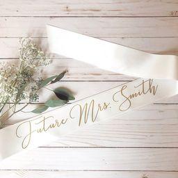 Bride sash, Future MRS. sash, Bachelorette sash, Personalized sash, bridal shower gift   Etsy (US)