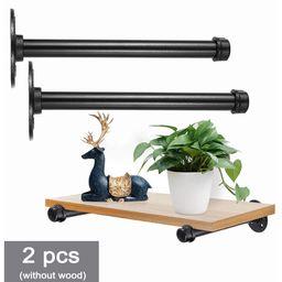 """2Pack 11""""/9"""" Industrial Black Iron Pipe Shelf Brackets, Heavy Duty Rustic Floating Shelf Bracket,...   Walmart (US)"""
