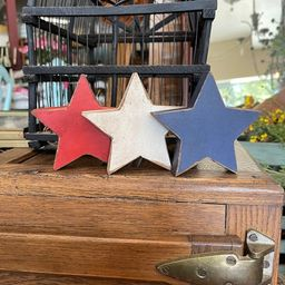 3 Handmade Wood Stars, Patriotic Red, White & Blue Stars, 4th of July Decor for Tiered Tray or Sh...   Etsy (US)