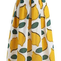 Summer Cool Lemon A-Line Midi Skirt | Chicwish