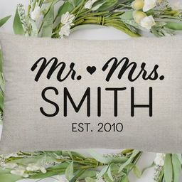 Personalized Mr. and Mrs. Pillow Cover, Custom Couple Pillow Sham   Etsy (US)