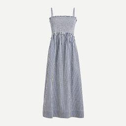 Smocked cotton poplin dress in gingham | J.Crew US