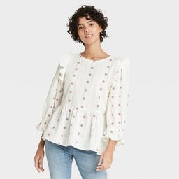 Women's Puff 3/4 Sleeve Embroidered Ruffle Top - Universal Thread™ | Target