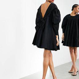 ASOS EDITION oversized bow V-back smock dress in black | ASOS (Global)