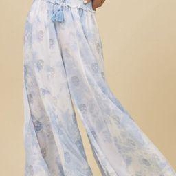 Blue Tie Dye Metallic Skull Wide Leg Pants | Surf Gypsy