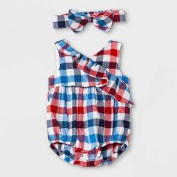 Baby Girls' Family Plaid Romper - Cat & Jack™ Blue | Target