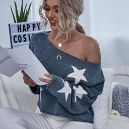 Star Print Drop Shoulder Boxy Sweater | SHEIN