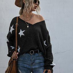 Ripped Hem Star Pattern Sweater | SHEIN