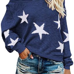 Selowin Women Casual Boat V Neck Long Sleeve Star Knit Top Pullover Thin Sweater | Amazon (US)