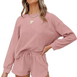 ZESICA Women's Waffle Knit Long Sleeve Top and Shorts Pullover Nightwear Lounge Pajama Set with P... | Amazon (US)