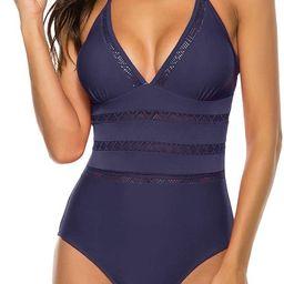 Urchics Womens Halter Plunge Monokini Swimwear One Piece Swimsuit Bathing Suit | Amazon (US)