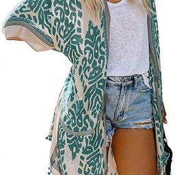 Dokotoo Womens Fashion Floral Print Swimsuit Kimono Tassel Casual Cardigan Loose Beach Cover ups | Amazon (US)