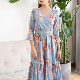 Pink Peony Wrap Ruffle Maxi Dress in Blue   Chicwish