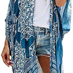 Dokotoo Womens Fashion Floral Print Swimsuit Kimono Tassel Casual Cardigan Loose Beach Cover ups   Amazon (US)