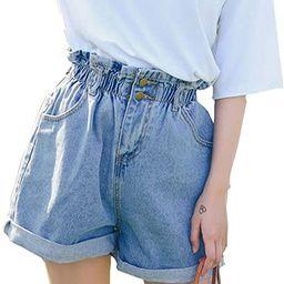 Plaid&Plain Women's High Waisted Denim Shorts Rolled Blue Jean Shorts   Amazon (US)