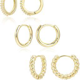 3 Pairs Small Huggie Hoop Earrings Set 14K Gold Hypoallergenic Lightweight Huggie Hoops Earrings ...   Amazon (US)