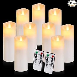 Flickering Flameless Candles with 10-Key Timer Remote, Exquisite Decor Battery Operated Candles O... | Amazon (US)