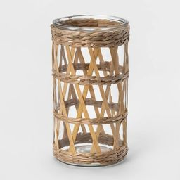 """9"""" Bamboo and Straw Outdoor Lantern with Glass - Opalhouse™ 