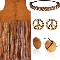 4 Piece Women Hippie Costume Set Fringe Vest Faux Seude Tassels Vest | Amazon (US)