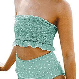 Aleumdr Womens 2 Pieces Bandeau Bikini Swimsuits Off Shoulder High Waist Bathing Suit   Amazon (US)