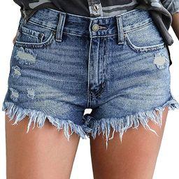luvamia Women's Casual Denim Shorts Frayed Raw Hem Ripped Jeans Shorts | Amazon (US)