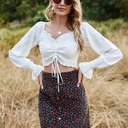 Flounce Sleeve Drawstring Shirred Crop Top | SHEIN