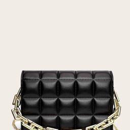 Stitch Detail Chain Satchel Bag   SHEIN