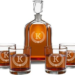 Personalized Whiskey Decanter Set for Men - 9 Design Options - Engraved Liquor Decanter Sets with... | Amazon (US)