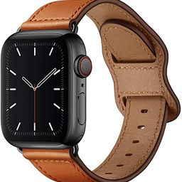 KYISGOS Compatible with iWatch Band 44mm 42mm 40mm 38mm, Genuine Leather Replacement Band Strap C... | Amazon (US)