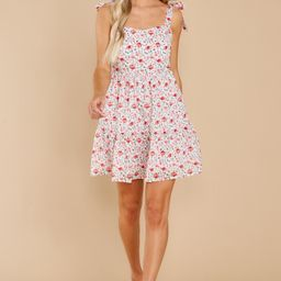 Graceful Blooms Red Floral Print Dress | Red Dress
