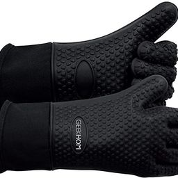 GEEKHOM Grilling Gloves, Heat Resistant Gloves BBQ Kitchen Silicone Oven Mitts, Long Waterproof N... | Amazon (US)