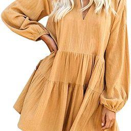 FANCYINN Women's Cute Shift Dress with Pockets Bell Sleeve Ruffle Hem V Neck Loose Swing Tunic ... | Amazon (US)