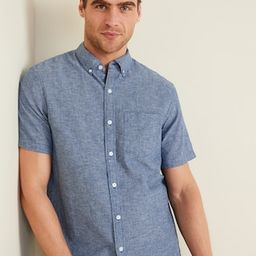 Relaxed-Fit Striped Linen-Blend Short-Sleeve Shirt for Men   Old Navy (US)