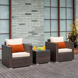 Gymax 3PCS Patio Rattan Outdoor Furniture Set w/ Cushioned Sofa Coffee Table | Walmart (US)