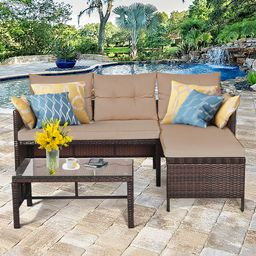 Costway 3PCS Patio Wicker Rattan Sofa Set Outdoor Sectional Conversation Set Garden Lawn | Walmart (US)