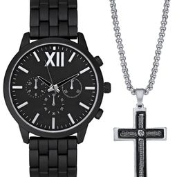 INC Men's Matte Black Bracelet Watch 48mm Gift Set, Created for Macy's   Macys (US)