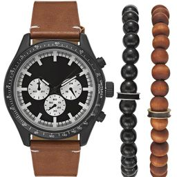 INC Men's Brown Leather Strap Watch 48mm Gift Set, Created for Macy's   Macys (US)