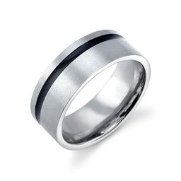 Stainless Steel Ring Featuring Black Line Design   Macys (US)