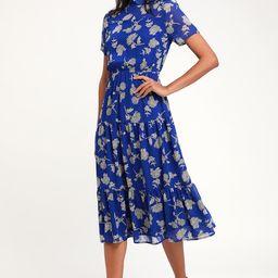 Floral Dressed Up Royal Blue Floral Print Midi Dress | Lulus (US)