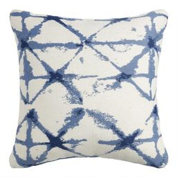 White And Indigo Blue Shibori Jacquard Throw Pillow   World Market