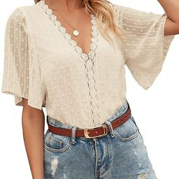 Romwe Women's Lace Short Sleeve Swiss Dots Mesh Sheer V Neck Blouse Tops | Amazon (US)