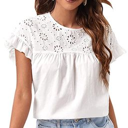 Romwe Women's Eyelet Embroidery Ruffle Short Sleeve Solid Casual Blouses Tops Shirt | Amazon (US)