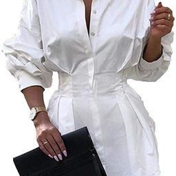 Sexy Mini Shirt Dress for Women - Casual Button Down Blouse Long Sleeve V Neck Belted Shirts Blou... | Amazon (US)
