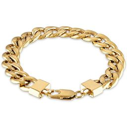 """Men's Cuban Link (11-3/4mm) 8 1/2"""" Chain Bracelet in Yellow IP over stainless steel (Also in Blac... 