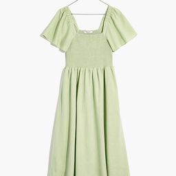 Linen-Blend Lucie Smocked Midi Dress   Madewell