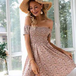BerryGo Women's Vintage Off Shoulder High Waist Floral Print Beach Mini Dress | Amazon (US)