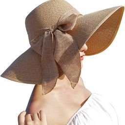 Women's Wide Brim Sun Protection Straw Hat,Folable Floppy Hat,Summer UV Protection Beach Cap | Amazon (US)