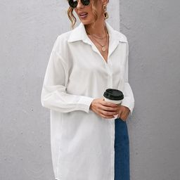 Button Front Patch Pocket Tunic Top | SHEIN
