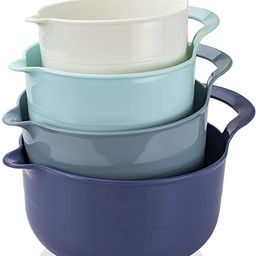 Cook with Color Mixing Bowls - 4 Piece Nesting Plastic Mixing Bowl Set with Pour Spouts and Handl... | Amazon (US)